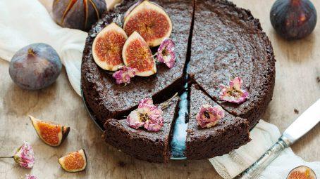 Chokladtårta med färska fikon